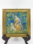 Framed Antique Faience Majolica Italian Tile Plaque Relief Figural Woman And Child