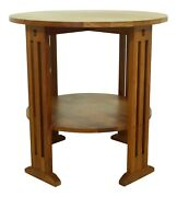 51601ec Stickley Round Mission Style Arts And Crafts Cherry Table