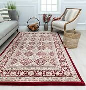 Area Rugs Traditional Centurion Panel Red Transitional Vintage Floor Carpet