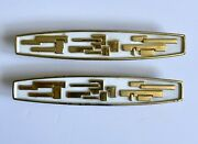 50s 60s Gold And White Metal Cupboard Cabinet Door Handles Lge Modernist Mcm Pair