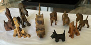 Antique Carved Wooden Dogs Lot 9