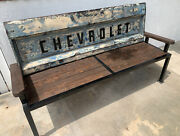Handmade 6ft Chevrolet Tailgate Bench Hand Welded With Beautiful Wood Heavy