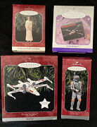 Hallmark 1998 Four Star Wars Ornaments Boba Fett Leia X-wing Fighter And Lunch Box