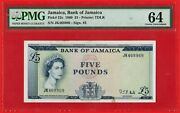 1960 Andpound 5 Five Pounds Bank Of Jamaica Note Pick 52c - Rare - Pmg Ch Unc 64