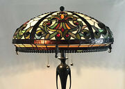 Vtg Stained Glass Lamp Shade Arts And Crafts Deco Mission Style 20 Large