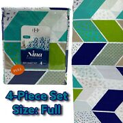 Estex Home Fashions Nina Collection 4-piece Full Bed Sheet Set Geometric New