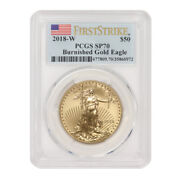 2018-w 50 Burnished Gold Eagle Pcgs Sp70 Fs First Strike 1oz 22kt Coin Ms70