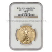 2011-w 50 Gold Eagle Ngc Ms70 American Burnished West Point 1oz 22kt Coin