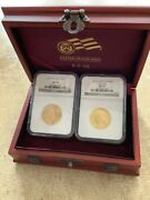 2008-w Double Prosperity Set . Burnished 25 Eagle And Buffalo . Both Coins Ms70
