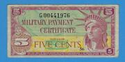 Mpc Military Payment Certificate Series 591 5 Five Cents Replacement Note Star