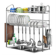 2 Tiers 33and039and039 Over Sink Dish Drying Rack Drainer Cutlery Holder Stainless ❤