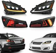 Set Of 4 Led Projecctor Headlight+smoked Tail Lights For 06-12 Lexus Is350 Is250
