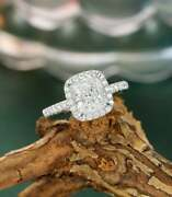 2.10ct Cushion Cut Vvs1 Diamond Halo Womenand039s Engagement Ring 14k White Gold Over