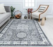 Rugs America Harper Ice Cube Silver Abstract Vintage Area Rug