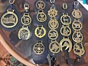 Bundle Of 18 Vintage Horse Brasses On Leather Straps Need Cleaning.