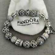 Pandora Bracelet19 Clear Crystal And Sterling Silver Sliding Charms Authentic