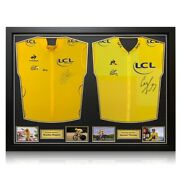Bradley Wiggins And Geraint Thomas Signed Jerseys. Dual Framed