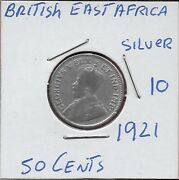 East Africa British Colony 50 Cents 1921 George Vcrowned Bust Of King George V