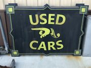 Lqqk Vintage Used Cars Art Deco Double Sided Sign Car Truck Mancave Garage Neon
