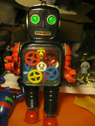 Giant 15 Tall Battery Operated 1960s Blink A Gear Robot Near Mint Condition