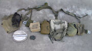 Old Us Vietnam War To 1980s Belt Backpack Suspender Set And Pouches And Canteen Used