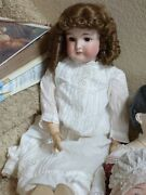 Antique Pretty Bisque Doll Queen Louise 25 Am/wolf Compo Original Clothes Wig