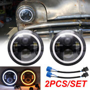 2pcs 7led Headlights High/low Lamps For Plymouth 1949-1955 Chevrolet C10 Pickup