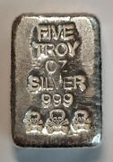 Atlantis Mint Skull 5 Troy Ounces Of 999 Pure Solid Silver Bar