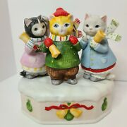 Rare Schmid Kitty Cucumber Music Box 1985 Collectable Xmas 3 Bells Ringing