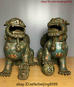 Collect Folk China Chinese Cloisonne Bronze Fengshui Lion Statue Pair 0216