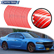 Red Glossy Sprote Vinyl Wheel Rim Decal Conspicuity Tape For Dodge Challenger