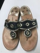 Womenand039s Jack Rogers Hamptons Navajo Blue And Green Plaid Thong Sandals Size 10 M