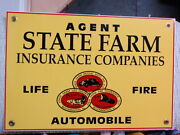 Over 1 Pound 15.5 X 10.5 2-sided State Farm Insurance Mutual Agent Metal Sign