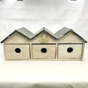 Rustic Wood Bird House Tin Roof 3 Hole / Drawers Nest Farmhouse Country Decor👇