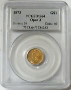 1873 Open 3 Gold Princess Head 1 Dollar Coin Pcgs Mint State 64