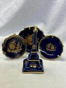 Limoges France Miniature Doll House Plates And Eiffel Tower Cobalt And Gold R12