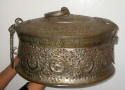 Ancient Copper Medieval Betel Box Very Ornate Container Metalware