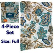Estex Home Fashions Nina Collection 4-piece Full Bed Sheet Set Floral Leaf New