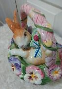Fitz And Floyd Halcyon Bunny Rabbit Teapot Pansy Flowers 4 Cup Easter Colorful