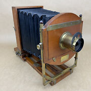 E And H.t. Anthony Novelette 5x8 Antique Wooden Camera And Matching Brass Lens Rare