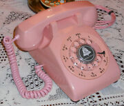 Excellent Vintage Western Electric Hot Pink Classic Rotary Dial Desk Phone Works