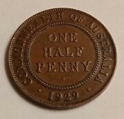 1929 Australian Half Penny George V In Great Condition