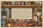 Vintage Spinning Wheel Fireplace New England Salt Cod Fish Dinner Recipe Print