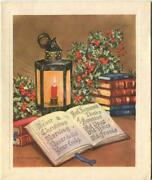 Vintage Christmas Holly Berries Lantern Candle Books Poem Charles Thomson Card
