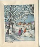 Vintage Christmas Snow Glitter Snow Victorian Sylvan Evergreens Church Sky Card