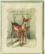 Vintage Christmas Embossed Deer Doe Fawn Green White Snow Forest Greeting Card