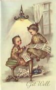 Vintage Children Song Music Sheets Record Books Old Lamp Light Art Greeting Card