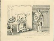 Antique Medieval Man Costume Cane Returns Home Woman Distaff Woodcut Old Print