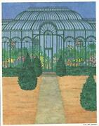 Victorian Green House Trees Garden Flowers Evergreen Nikki Schumann Mint Print