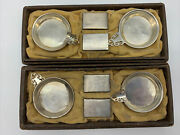 Lot Of 2 Gh French Co Sterling Silver Ash Tray And Match Holder Sets With Box
